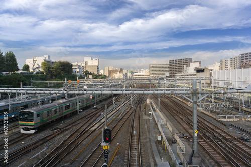 In de dag Spoorlijn 鉄道 線路 電車