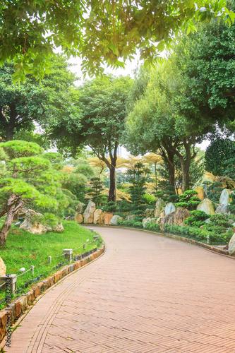 Papiers peints Route dans la forêt Pathway in public park, surrounded by green trees