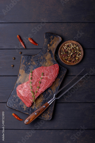 Keuken foto achterwand Steakhouse Closeup beef steak and fork