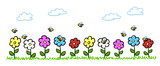 Cartoon Bienen bestäuben Blumen im Garten - 187324212