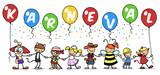 Gruppe Kinder beim Karneval feiern im Kostüm - 187324228