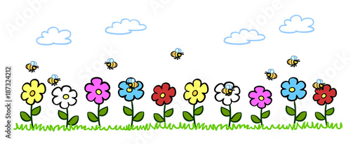 Wall mural Cartoon Bienen bestäuben Blumen im Garten