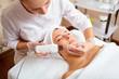 Woman on facial skincare procedure.Hardware cosmetology.