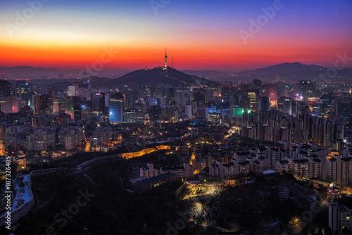Deurstickers Seoel Seoul skyline and twilght cityscape at Seoul city ,South Korea