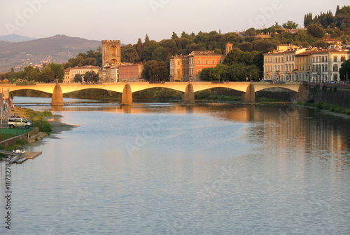 Foto Murales Ponte Vecchio sunset Florence Italy
