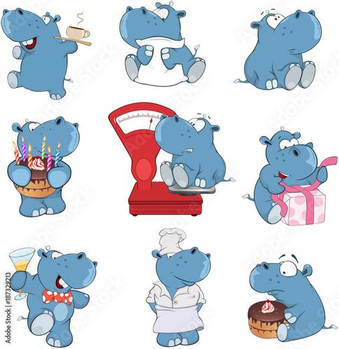 Foto op Canvas Babykamer Set of Cartoon Illustration. A Cute Hippo for you Design