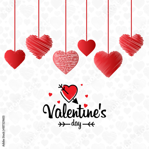 Valentine's day card with hearts and white background