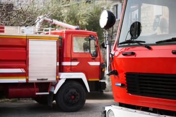 Fire trucks at the fire station