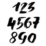 Set of grunge handdrawn numbers. Modern dry brush lettering. Vector illustration. - 187330237