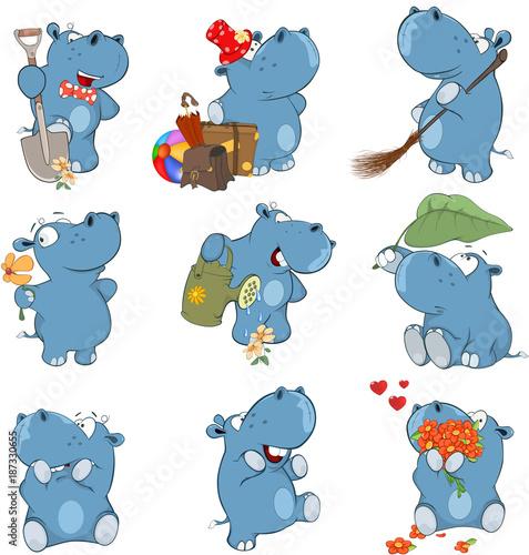 Foto op Canvas Babykamer Set o Cartoon Illustration. A Cute Hippo for you Design