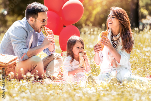 Family with child enjoying picnic in park.