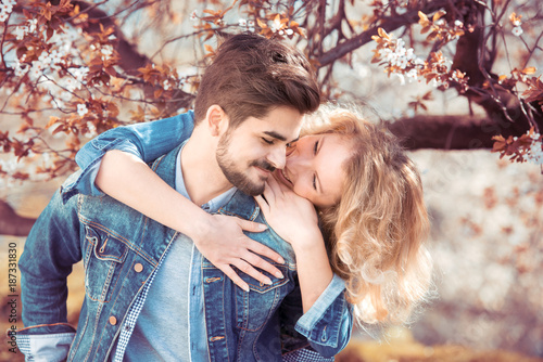 Papiers peints Kiev Young couple in love outdoor