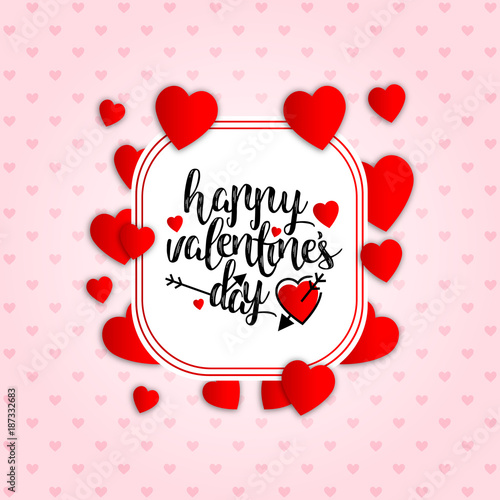 Happy Valentine's day with pink pattern background