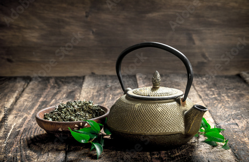 Teapot with fragrant Indian tea.