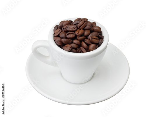 Deurstickers Koffiebonen coffee beans in a cup