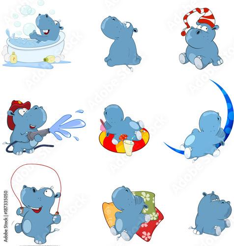 Foto op Canvas Babykamer Set of Vector Cartoon Illustration. Cute Hippo for you Design