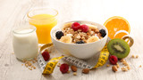 healthy breakfast with cereal, fruit and dairy - 187337063