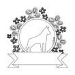 line dog animal inside circle rustic flowers design