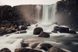 Long Exposure of Waterfall over Volcanic Rocks