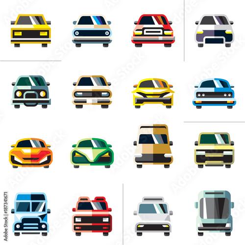 Fotobehang Auto car icons, flat car vectors