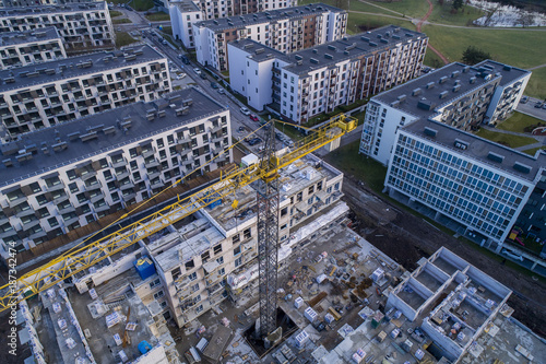 Aerial view over a construction site in newly developed neighbourhood in Vilnius, Lithuania.