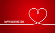 Valentines day banner. Valentines heart line on red background.