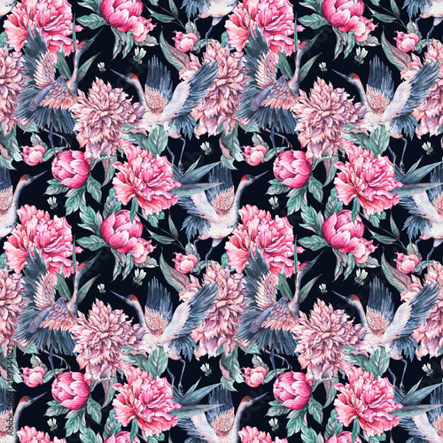 Watercolor seamless pattern with crane, pink peonies - 187344823