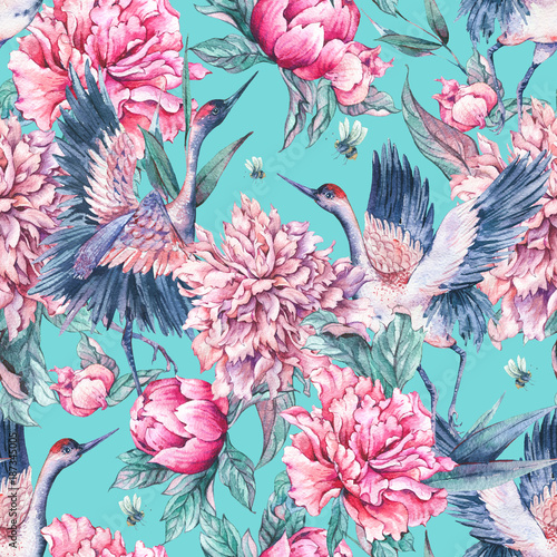 Watercolor seamless pattern with crane, pink peonies © depiano