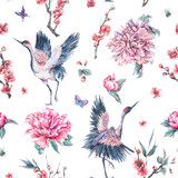 Watercolor seamless pattern with crane, blooming branches, peoni