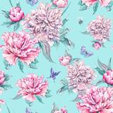 Watercolor seamless pattern pink flowers peonies - 187346873