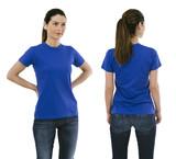 Brunette woman wearing blank blue shirt