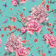 Watercolor seamless pattern with blooming cherry, peonies,