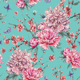 Watercolor seamless pattern with blooming cherry, peonies, - 187348429