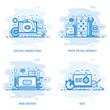 Modern flat color line concept web banner of Seo, Web Design, Apps Development and Digital Marketing. Conceptual vector illustration for web design, marketing, and graphic design.