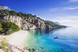 Beautiful Nugal beach near Makarska town, Dalmatia, Croatia. Makarska riviera, famous landmark and travel touristic destination in Europe - 187350435