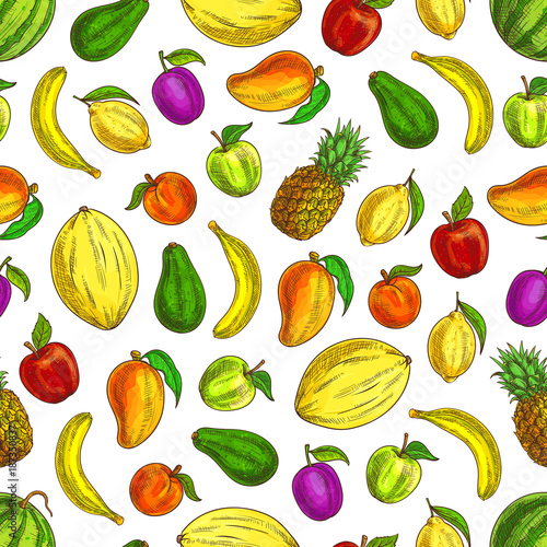 Fruits sketched icons in seamless fruit pattern