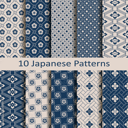 set with eight seamless vector blue japanese floral geometric paterns. design for textile, packaging, covers - 187351271