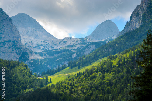 Sunlit mountain slope covered with woods amidst high blue rocky mountain tops - 187355050