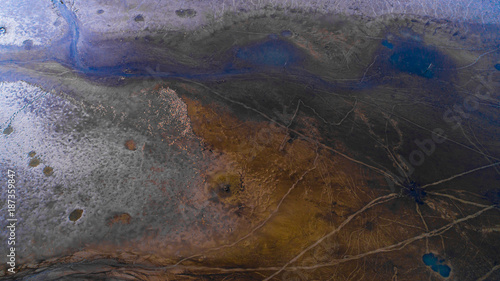 Beautiful abstract aerial photo about a lakebed - 187359847