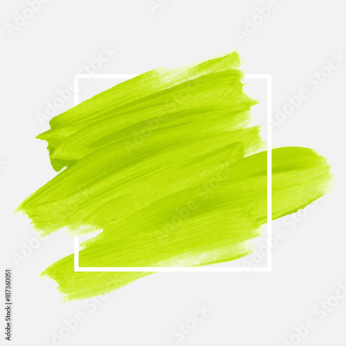 Logo brush painted watercolor abstract background design illustration vector over square frame. Perfect acrylic design for headline, logo and sale banner.  - 187360051