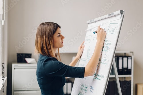 Young woman writing on flip chart - 187360639