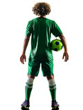 one mixed race young teenager soccer player man playing  in silhouette isolated on white background - 187363403