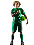 one mixed race young teenager soccer player man playing  in silhouette isolated on white background - 187363622