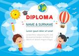 Vector Illustration Of Preschool Kids Diploma - 187365050