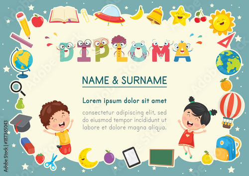 Vector Illustration Of Preschool Kids Diploma - 187365043