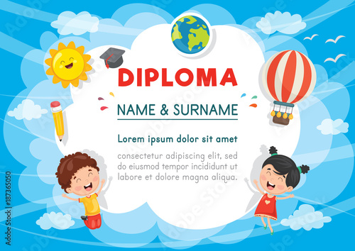 Vector Illustration Of Preschool Kids Diploma - 187365050