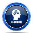 Learning vector icon. Modern design blue silver metallic glossy web and mobile applications button in eps 10