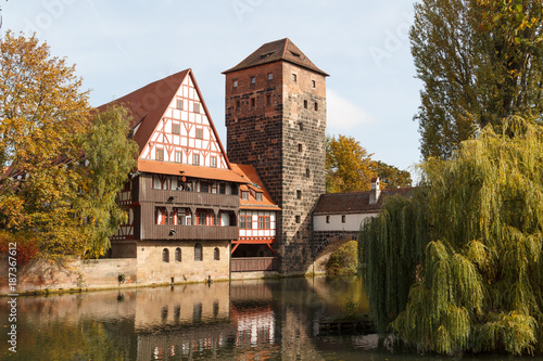View to medieval bridge and defence tower in the centre of Nuremberg, Germany
