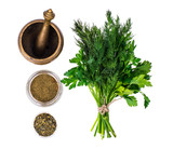 Fresh and dried garden greens of dill and parsley - 187369698
