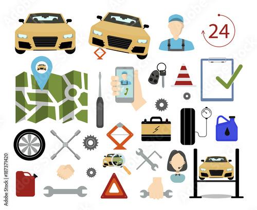 Fotobehang Auto Road assistant set.